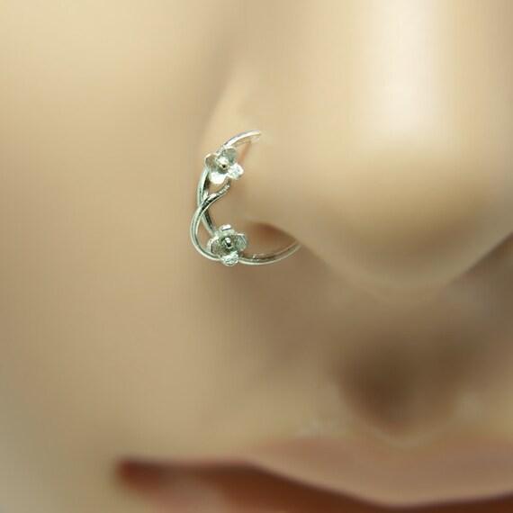 nose ring flower motif customize sterling silver ring nose