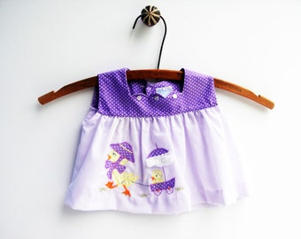 Baby Girl Clothes, Purple Easter Dress with Ducks, Top, 1960's, Size 3 Months