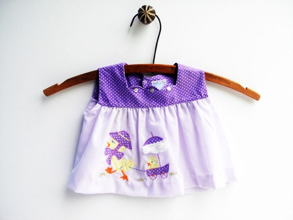 Baby Girl Clothes Purple Easter Dress with Ducks Top