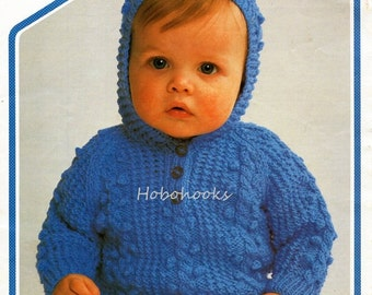 a37707177 Crochet Baby Cardigan Sweater and Hat Vintage Pattern toddler ...
