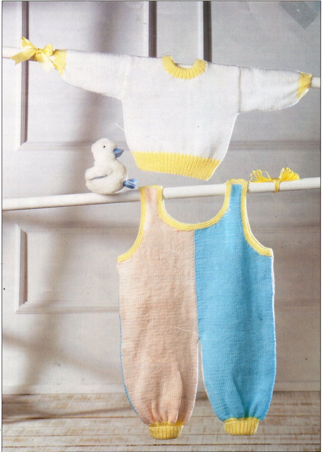 baby dungarees & sweater knitting pattern pdf baby jumper
