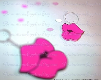 "Acrylic Blanks - Blanks For Vinyl - Clear Acrylic Shapes - Duck Face Lips 1.5"" Blanks For Charms, Pendants and Wine Charms - Packs of 4"