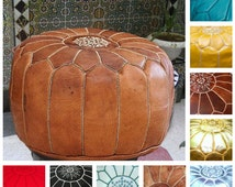 "Pouf-""Promo"" valentine's day Gift leather ottoman(14""x 20"")pouffe-hand-stitched,Gifts Birthdays And wedding,pouf Natural leather."