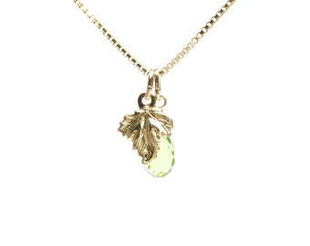 "Peridot and Leaves charm Necklace ""Tears of life"" k14goldfilled ,charis,japan,gold,pendant,charm, gemstone"
