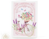 Vintage bicycle, card, basket of flowers, birthday card, pink, lavender, spring, bike, french bicycle, butterflies, flower basket