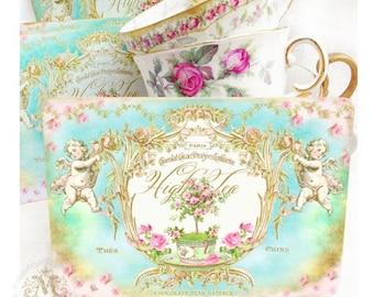 French, high tea, invitations, Rococo, Baroque, vintage style, shower tea, bridal shower, cupid, birthday party, vintage tea party