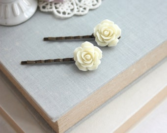 Ivory Cream Rose Flower Hairpins, Filigree Hair Pins, Rose Bobby Pins, Set of Two 2 Ivory Flowers, Bridal Bridesmaids Gift, 2 Cream Rose