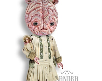 "Hildemarie- halloween doll ornament articulated Paper Doll -13.8""- victorian halloween decor freak art doll little monster brain girl"
