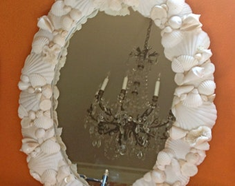 "Beach Decor - Seashell Mirror - 18"" x 24"" Shell Mirror sea shell mirror"