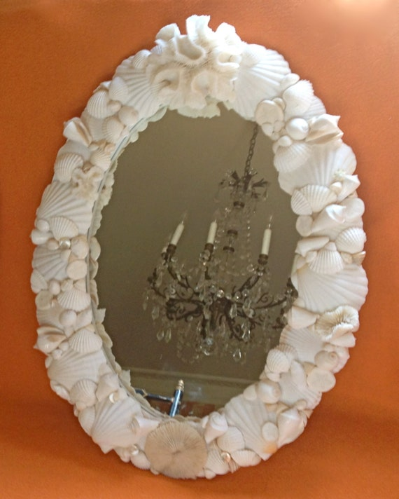 Beach decor seashell mirror 18 x 24 shell for Mirror 18 x 24
