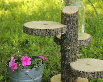 Large 3-Tiered Rustic Wedding Decor Tree Mason Jar / Candle Stand Table Center Piece Cupcake Holder Mason Jar
