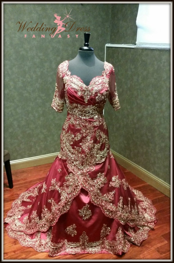 Dark red and gold wedding dress indian inspired for Red and gold wedding dress