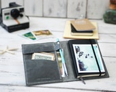 Leather Moleskine cover. Travel journal cover. Agenda leather cover. Small moleskine case. Gray leather organizer. Travel accessories.