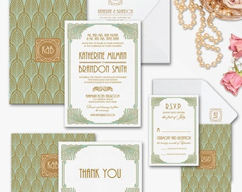 Art deco Printable Wedding Invitation Set - Art deco Diy Printable invitation - Glamour Wedding invitation