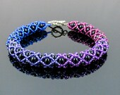 Ombre Bracelet, Ombre Bead Bracelet, Tubular Netting Bracelet, Gradient Bracelet, Beadwoven Bracelet, Silver Toggle Clasp, 7 1/2 inches
