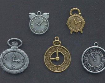 Metal Watch and Clock Charms - Brass and Silver Coloured - Jewellery, Greeting Cards, Collage