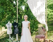 Non-corset A silhouette wedding dress with knitted mint cap sleeves