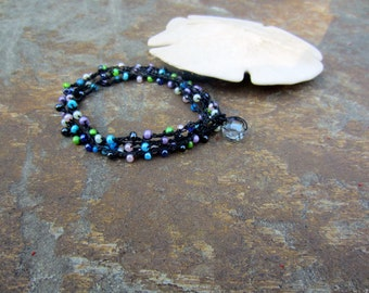Beaded Anklet bracelet necklace Colorful bead ankle bracelet crochet wrap anklet bracelet Boho Beach Bracelet Surfer girl anklet boho wrap