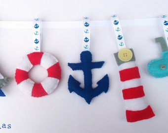 Nautical Nursery Bunting, Seaside Decor, Seaside Bunting, Nautical Theme Felt Garland, Baby Shower Decor