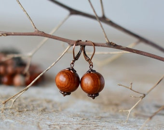 Wooden earrings wooden handmade wooden jewelry earrings boho wooden bead earring gift for her brown earring wooden beaded earring