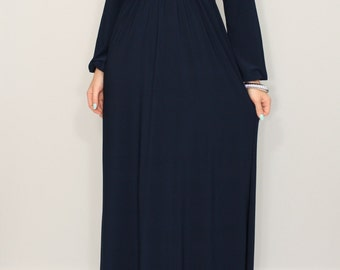 Navy blue dress Long sleeve dress Maxi dress Women Empire waist dress Vneck dress