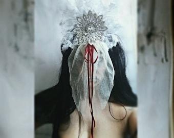 Gothic Veil Headpiece Headdress Couture Halloween Or Ghost Bride Costume Santa Muerte Calaveras
