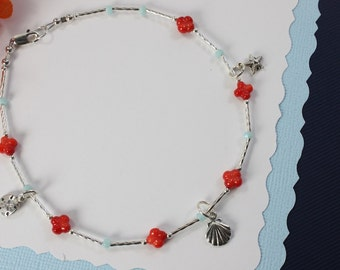 Coral Anklet Sterling Silver, Red Anklet, Silver Anklet, Beach, Vacation, Coral Anklet, Orange Coral, Red, Beach Wedding, Bridesmaid