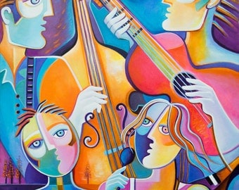 Cubism Abstract Art Original Oil Painting on canvas The Musicians Marlina Vera Modern Pop Artwork musiciens Sale Guitar Cello Music Jazz