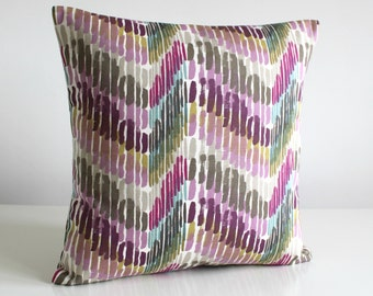Pillow Cover, Zigzag Pillow Case, 16 Inch Scatter Cushion, Pillow Sham, Cushion Cover, Throw Pillow Cover, Pillow Cover - Optic Plum
