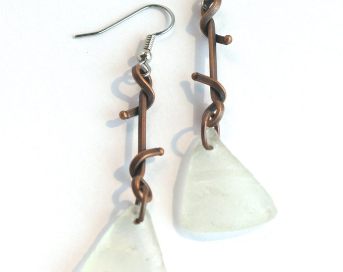 Embossed White Bonfire Sea Glass with Square Wire Twisted Antique Copper Earrings with Stainless Steel or Sterling Silver Ear Wires