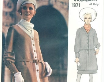 """60s Valentino Vogue Couturier Dress Pattern Bust 31-1/2"""" Misses' Sz 8 UNCUT Vogue 1971"""