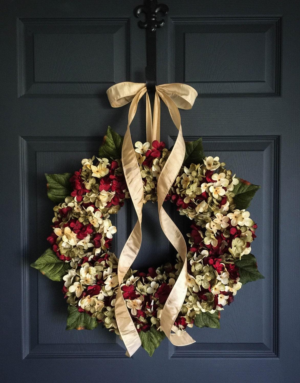 G Blended Hydrangea Wreath  Outdoor Front Door Wreaths Spring  Summer