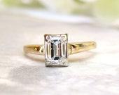 Vintage Emerald Cut Diamond Engagement Ring 0.50ct Diamond Solitaire Ring 14K Two Tone Gold Diamond Wedding Ring Bridal Jewelry