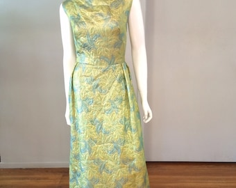 Vintage 1960's Brocade Gown with Gold Lame