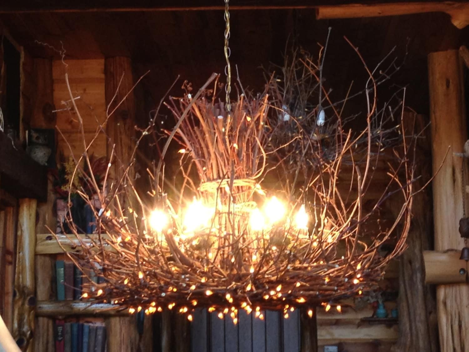 Cold mountain rustic chandelier lighting by Log cabin chandelier