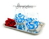 Handpainted Floral Wine Glass Set