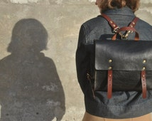 """IPad Leather Backpack, Two sizes available, IPad and 13"""" Laptop Backpack, Italian Leather Rucksack, Leather Messenger, Leather, Leather Bag"""