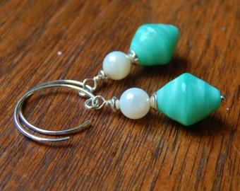 Aqua Swirl Earrings - Beautiful Aqua Czech Glass Beads w Mother-of-Pearl & Handmade Sterling Silver Ear Wires / Proceeds Help Kids w Autism