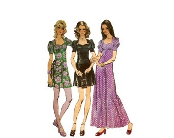f8ba60d4fda 1970s Boho Dress Pattern Mini or Maxi Simplicity 9779 Bust 30.5 Kawaii Sweet  Lolita Sweetheart Neckline Puffed Sleeve Vintage Sewing Pattern