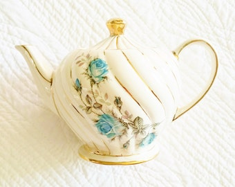 Vintage Cottage Home French Blue Rose Teapot with Gold Detailing, Romantic Home, Olives and Doves
