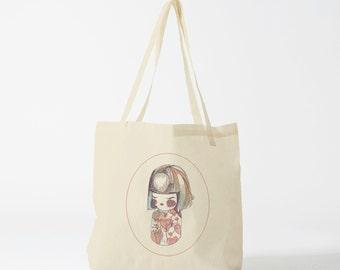 Tote Bag Japanese Doll. Groceries bag, cotton bag, novelty gift, gift for co-worker, yoga bag, sports bag, dance bag, gym bag.