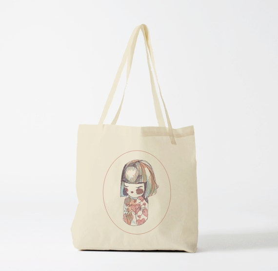 Tote Bag Japanese Doll. Groceries bag, cotton bag, novelty gift, gift for co-worker, yoga bag, sports bag, dance bag, gym bag.