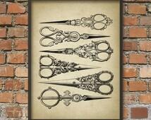 Antique Hairdresser Scissors Wall Art Print - Beauty Technician - Hair Stylist - Scissor Poster - Scissor Print - Hairdresser Gift Idea