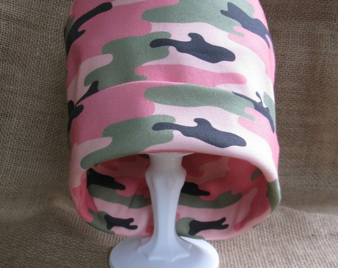 Pink Camo Chemo Headwear Women's Soft Organic Cotton Chemo Cap or Beanie Slouch Chemo Hat