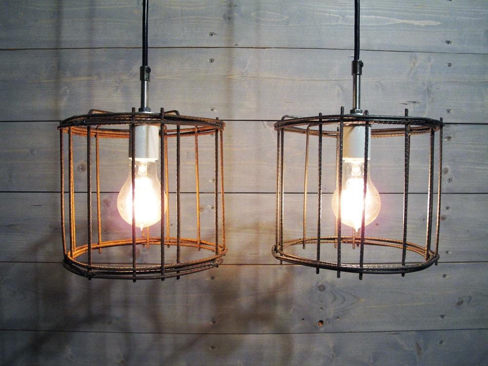 Rustic Pendant Light 7.75 Diameter Brown Steel Cage