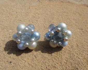 Vintage Cluster Clip On Beaded Earrings Flower