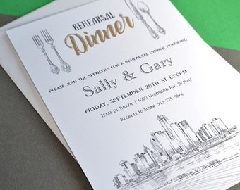 Detriot Skyline Rehearsal Dinner Invitation Cards (set of 25 cards)