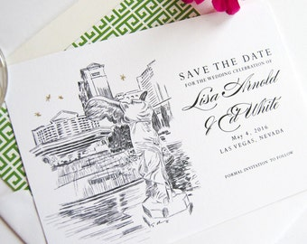 Caesars Palace Las Vegas Starry Night Hand Drawn Skyline Save the Date Cards (set of 25 cards)