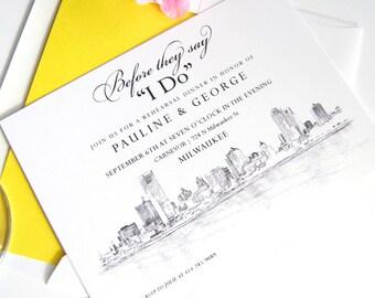 Milwaukee Skyline Hand Drawn Rehearsal Dinner Invitations (set of 25 cards)