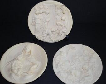 Vintage Alabaster Alberto Santangela Ivory Collectible Plates Set of Three
